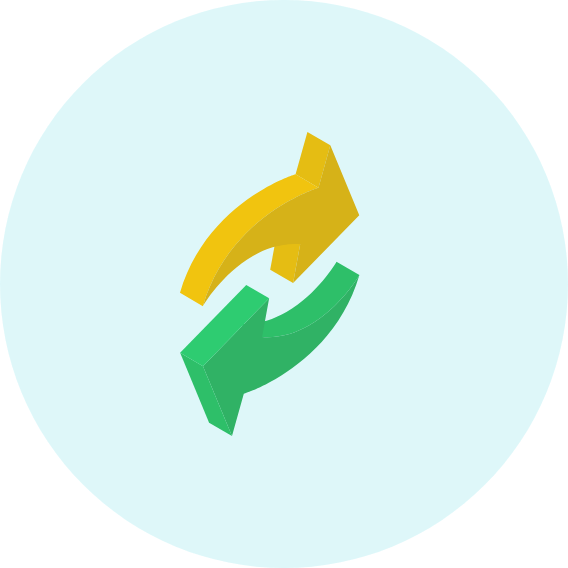 yellow and green arrows illustration
