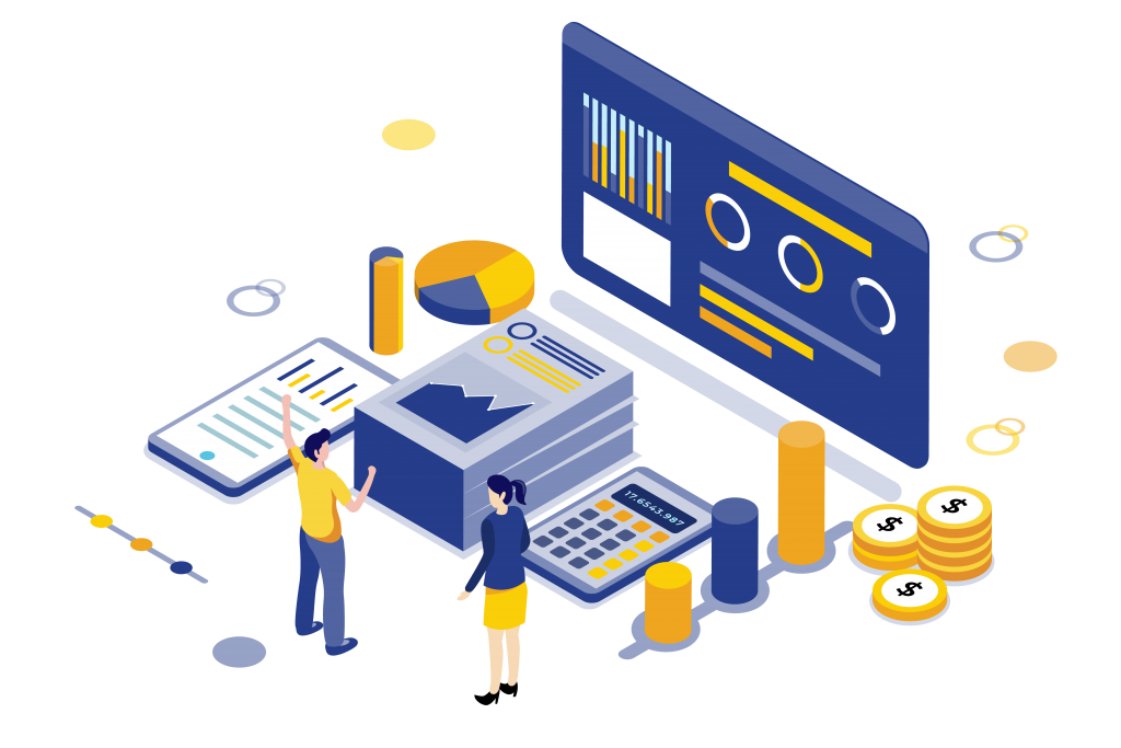 Accounting and book keeping isometric illustration