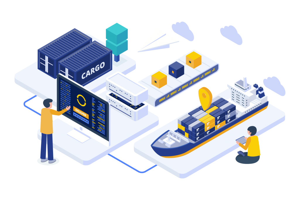 Isometric illustration for supply chain
